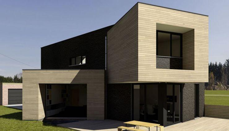 Villa porte faux bois moderne