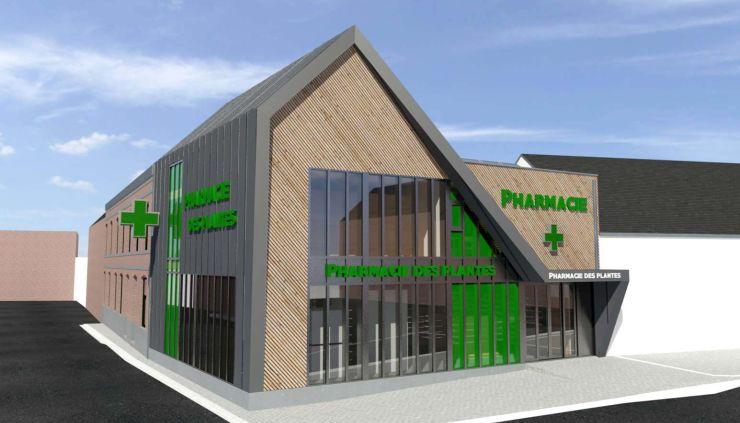 Architecture bois zinc auvent pharmacie plante