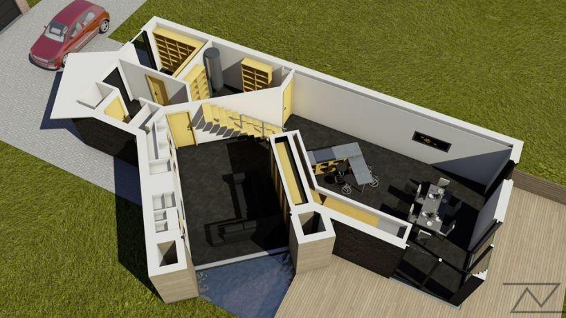 Villa contemporain toit plat coupe