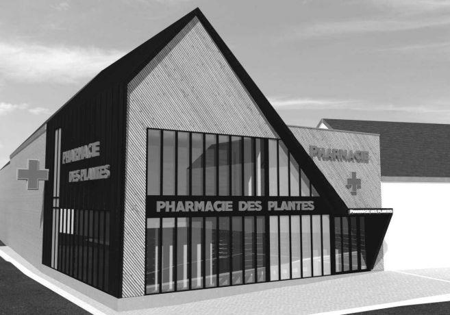 Architecte moderne bois zinc pharmacie