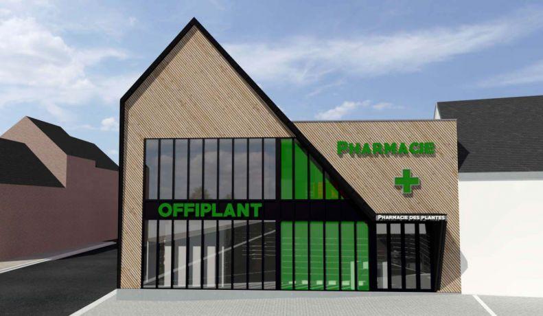 Architecte ossature bois pharmacie vitrage