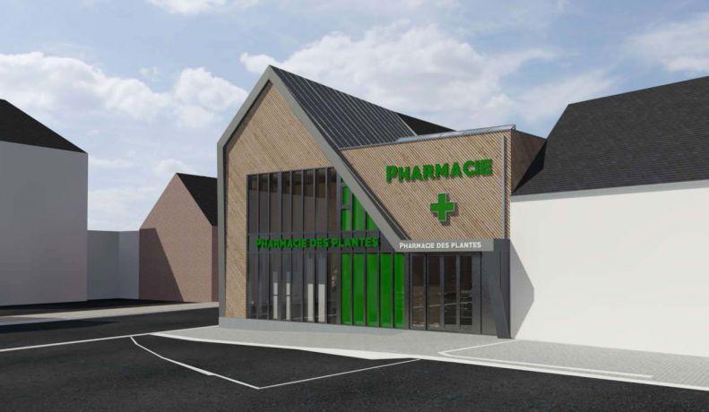 Architecture moderne ossature bois pharmacie plante