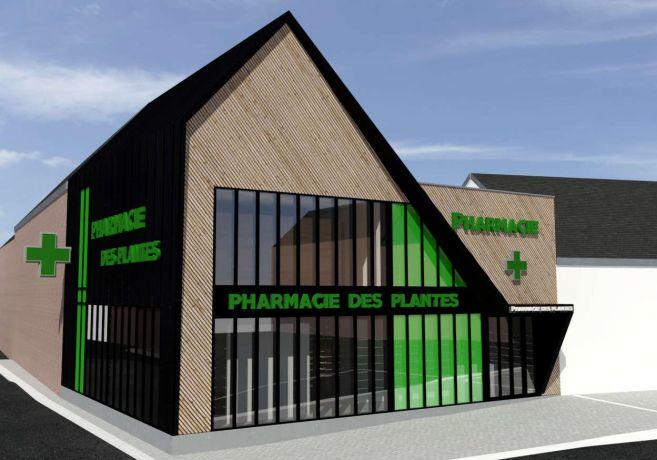 Pharmacie deconstructivisme bardage architecture bois