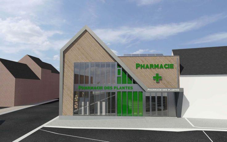 Pharmacie plantes bardage bois lens architecte